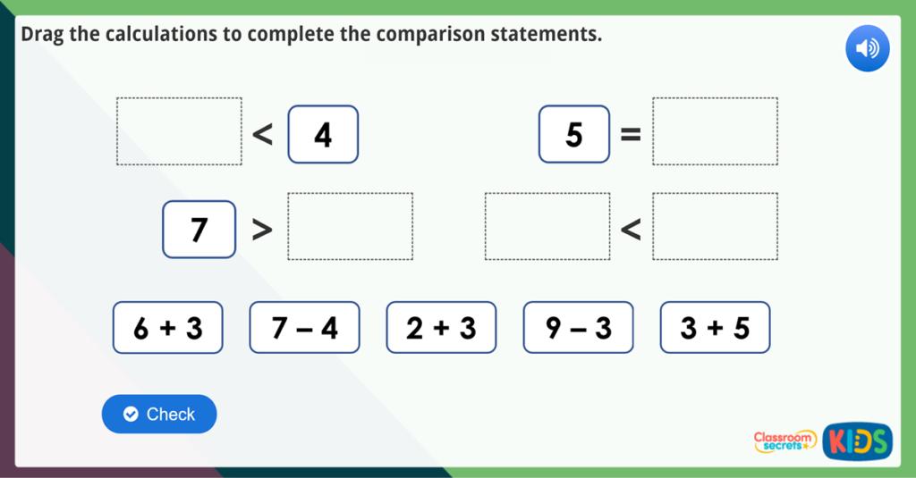 Compare Statements 1 Maths Challenge