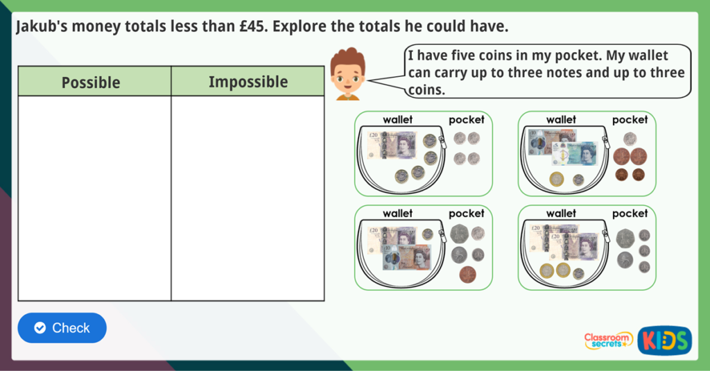 Count Money (Notes and Coins) Maths Challenge