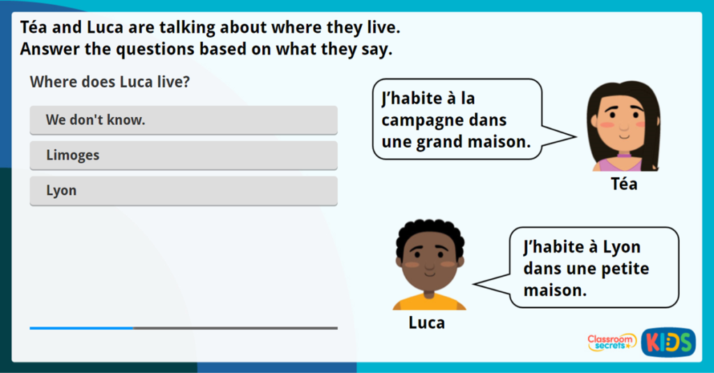 LKS2 French My Home Interactive Activity