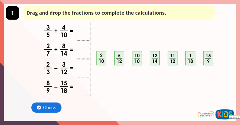 Year 6 Add and Subtract Fractions 1 Game