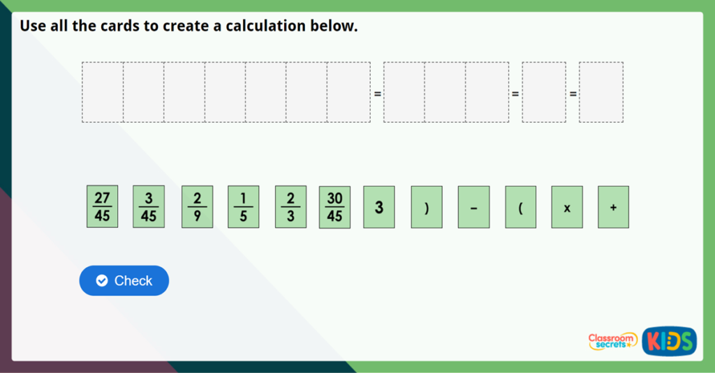 Year 6 Four Rules with Fractions Challenge