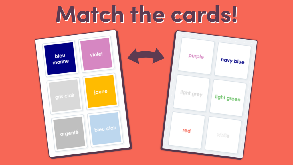 UKS2 French Colours Matching Game Set 2