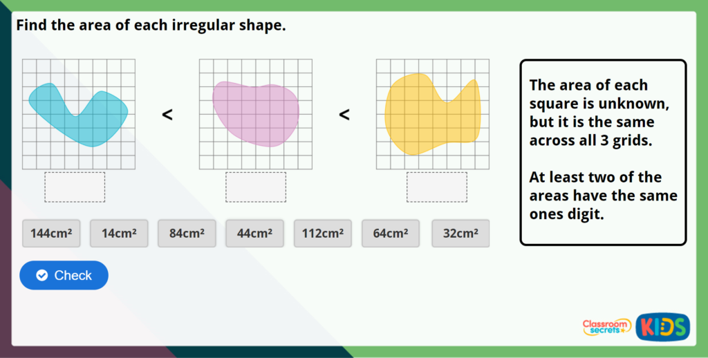 Year 5 Area of Irregular Shapes Maths Challenge