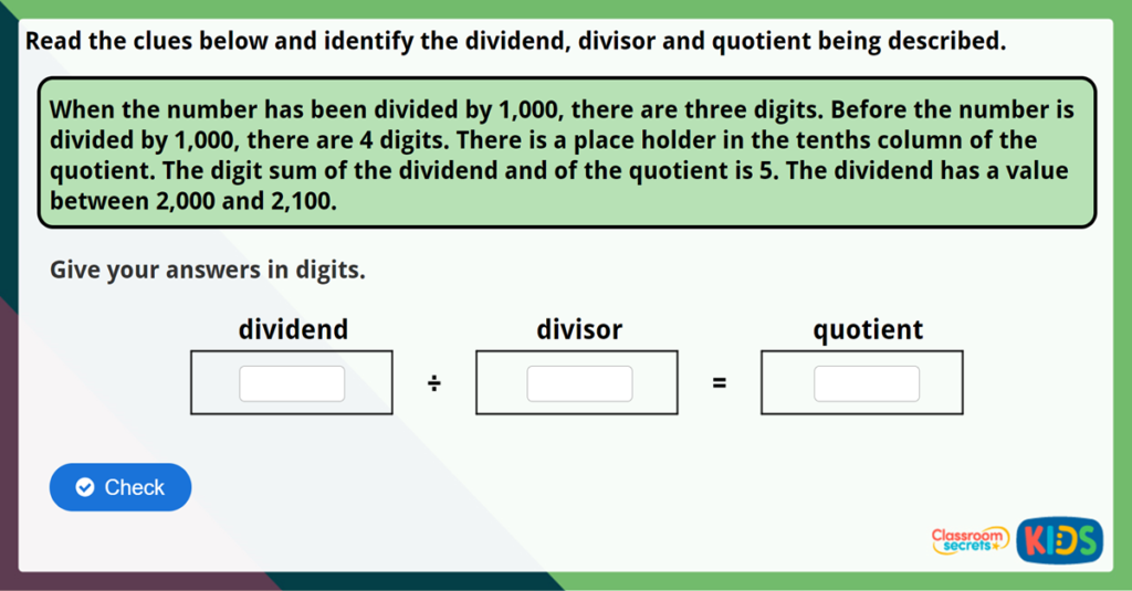 Year 6 Divide by 10, 100 and 1,000 Challenge