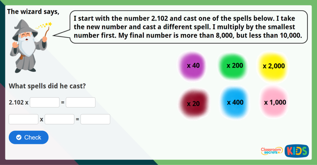 Year 6 Multiply by 10, 100 and 1,000 Challenge