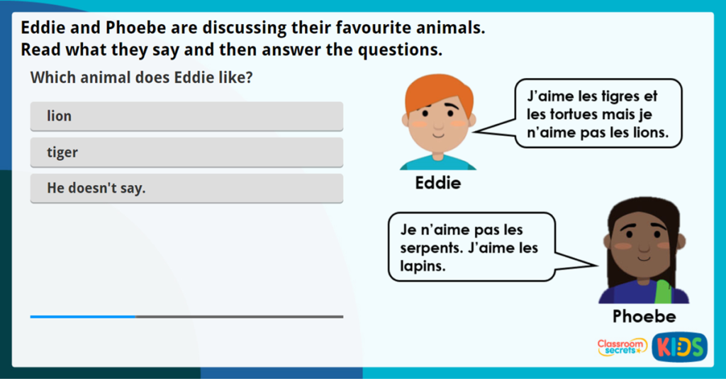 French Animal Likes and Dislikes Worksheet