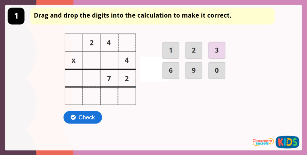 Year 4 Multiply 3 Digits by1 Digit Game