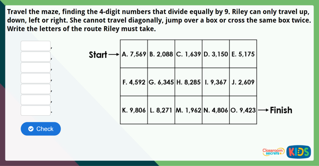 Year 5 Divide 4 Digits by 1 Digit Challenge