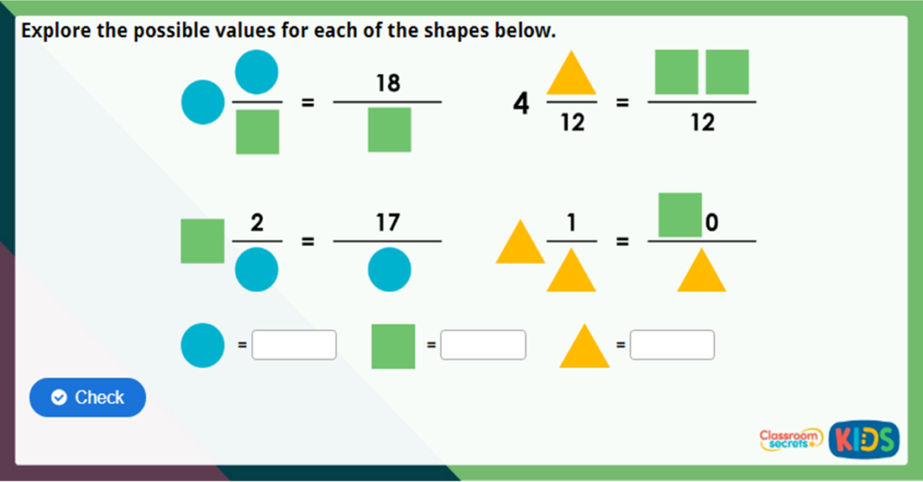 Year 5 Mixed Numbers to Improper Fractions Image