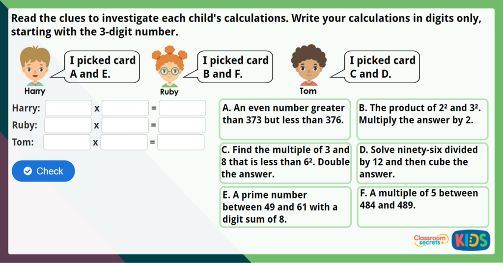 Year 5 Multiply 3 Digits by 2 Digits Challenge