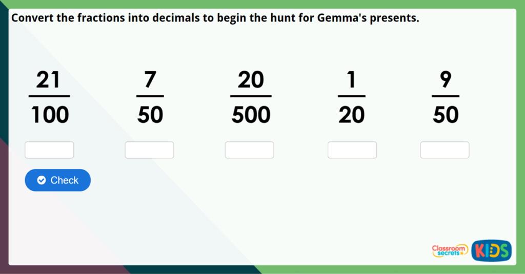Year 6 Fractions to Decimals 1 Challenge