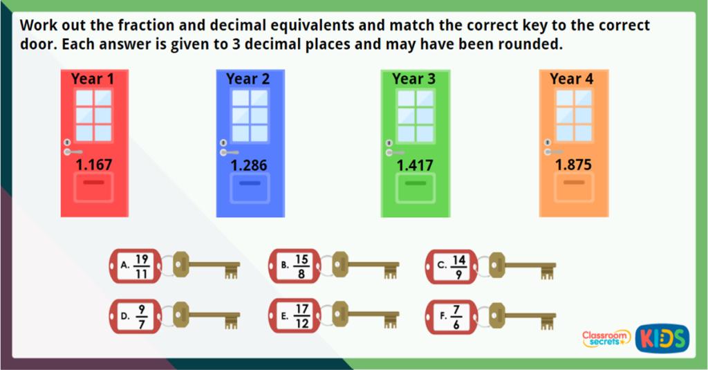 Year 6 Fractions to Decimals 2 Challenge