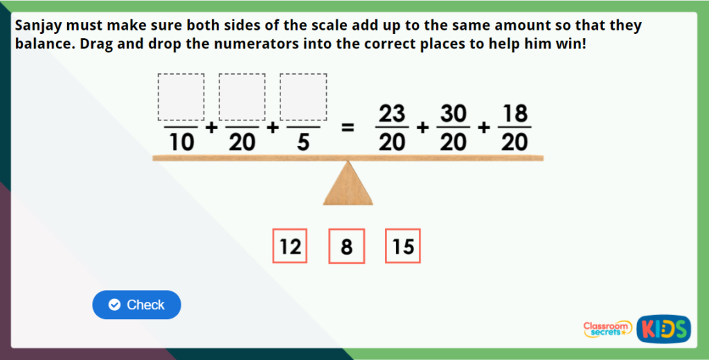 Year 4 Add 2 or More Fractions Maths Challenge