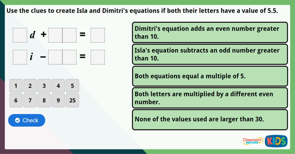 Year 6 Two-Step Equations Maths Challenge