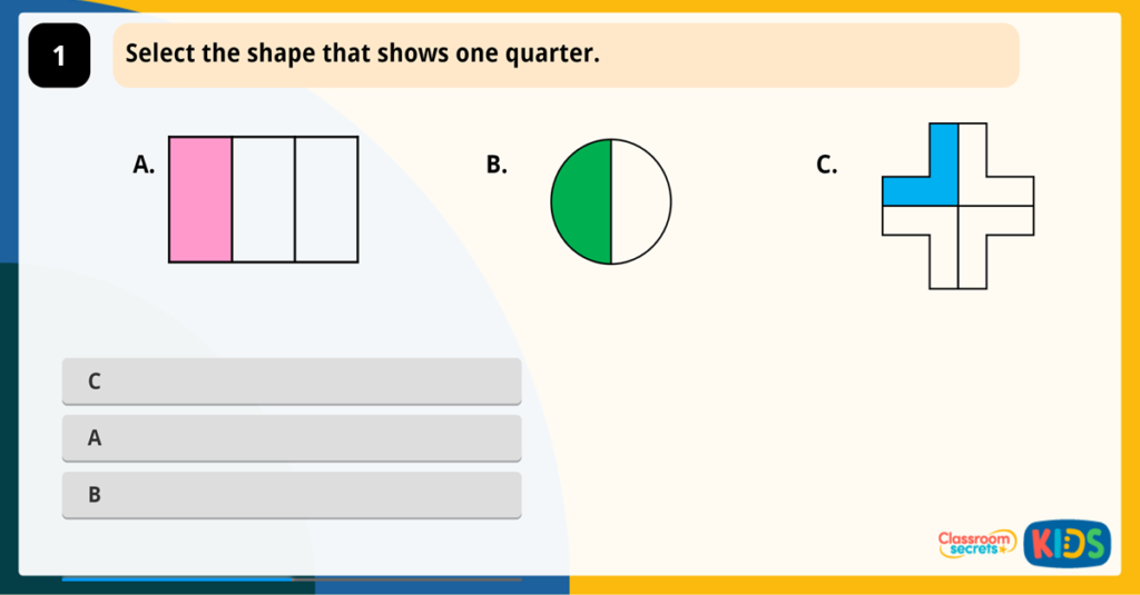 Year 2 Recognise Unit Fractions Game