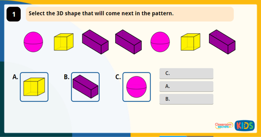 Year 2 Make Patterns with 3D Shapes Game