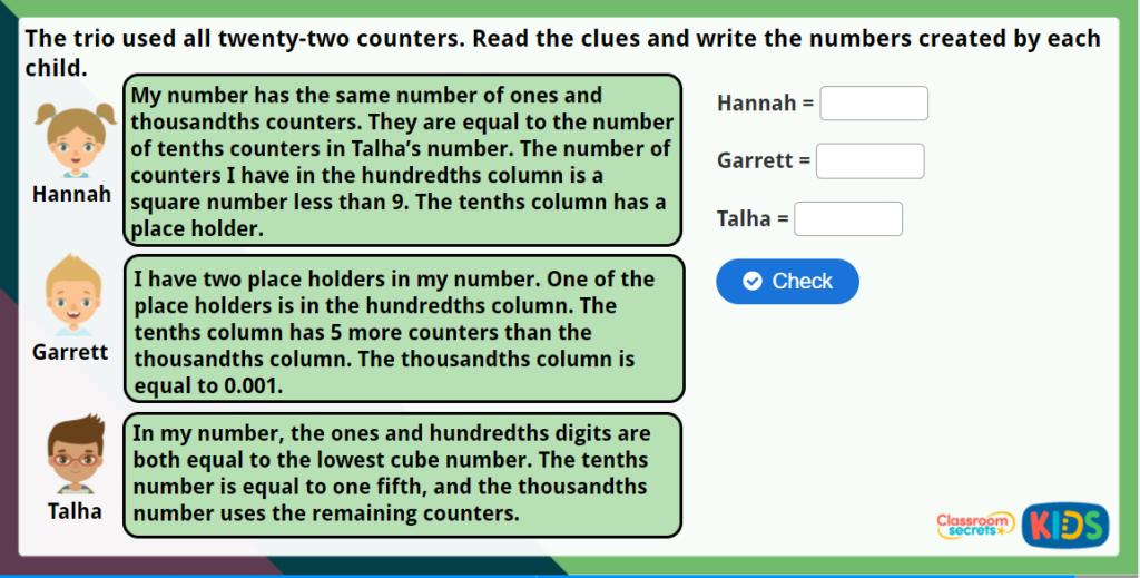 Y5 Understand Thousandths Maths Challenge