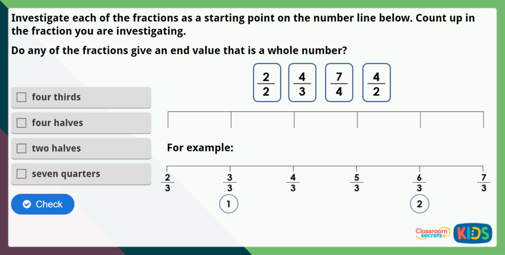 Year 2 Count in Fractions Maths Challenge