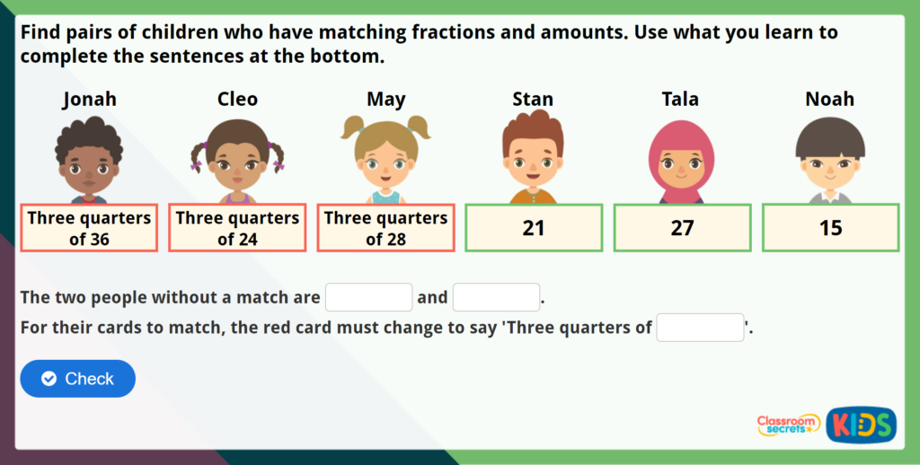 Year 2 Find Three Quarters Maths Challenge