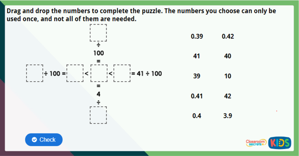 Year 4 Divide 1 or 2 Digits by 100