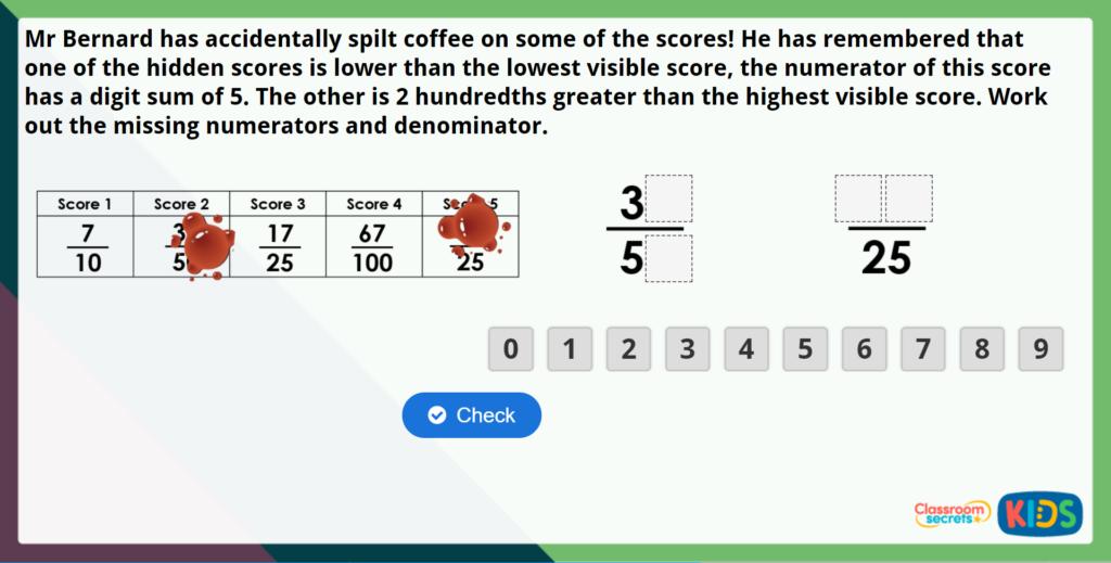 Year 5 Understand Thousandths Maths Challenge