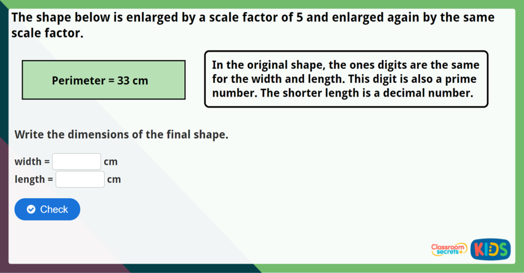 Year 6 Using Scale Factors Challenge