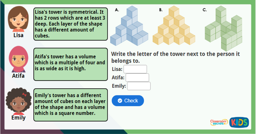 Year 6 Volume Counting Cubes Image