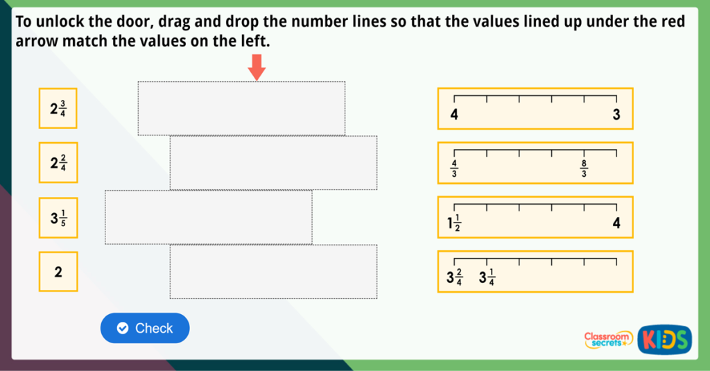 Year 3 Fractions on a Number Line Maths Challenge