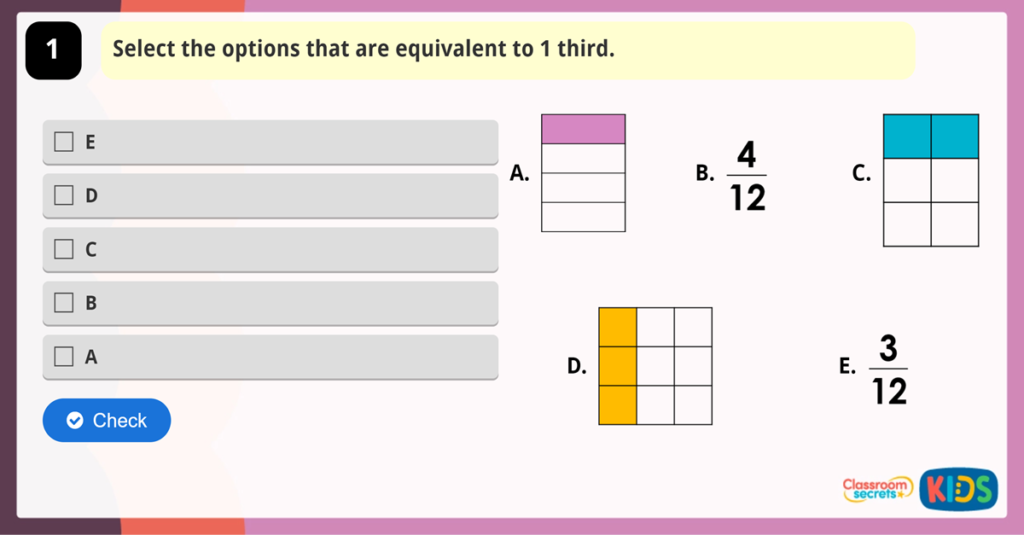 Year 3 Equivalent Fractions 3 Game