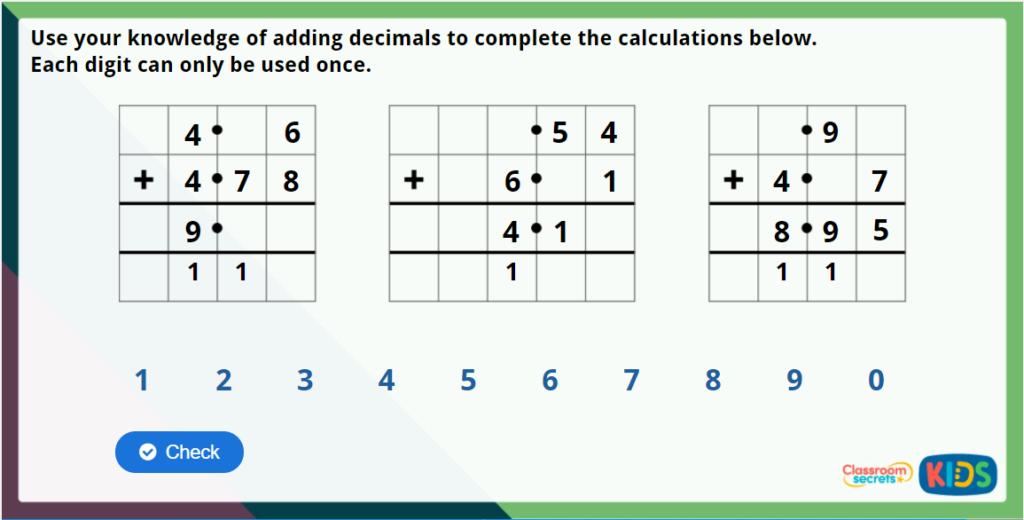 Y5 Adding - Same Decimal Places Maths Challenge