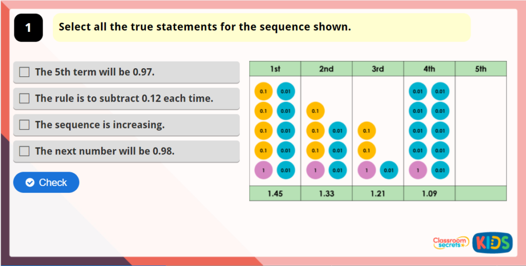 Year 5 Decimal Sequences Game