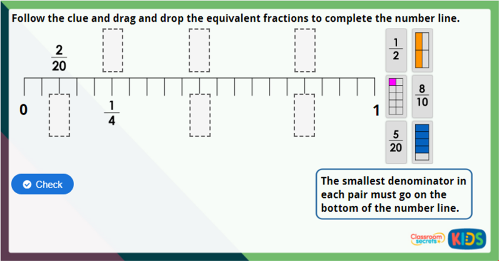 Year 3 Equivalent Fractions 2 Challenge