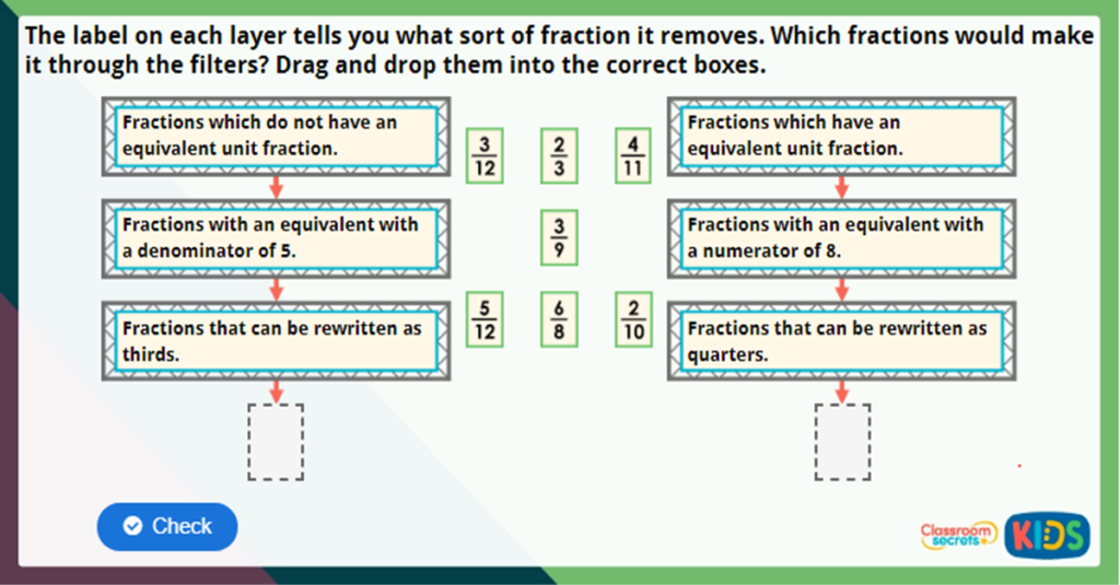 Year 3 Equivalent Fractions 3 Challenge