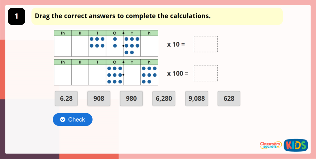 Year 5 Multiply by 10, 100 and 1,000 Maths Game