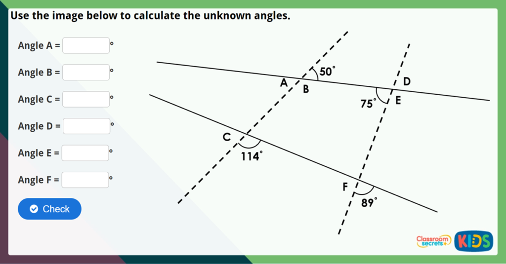 Year 6 Vertically Opposite Angles Challenge