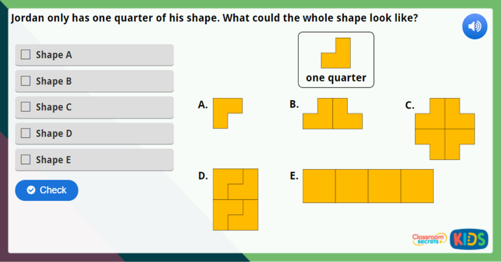 Year 1 Find a Quarter of a Shape or Object