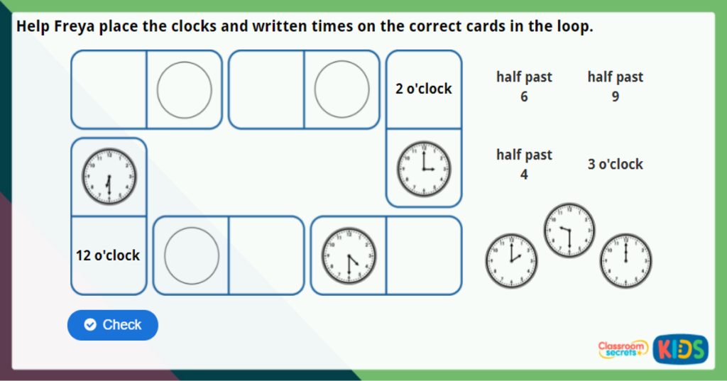 Y2 O'clock and Half Past Maths Challenge