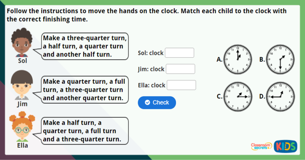 Year 2 Quarter Past and Quarter To Maths Challenge