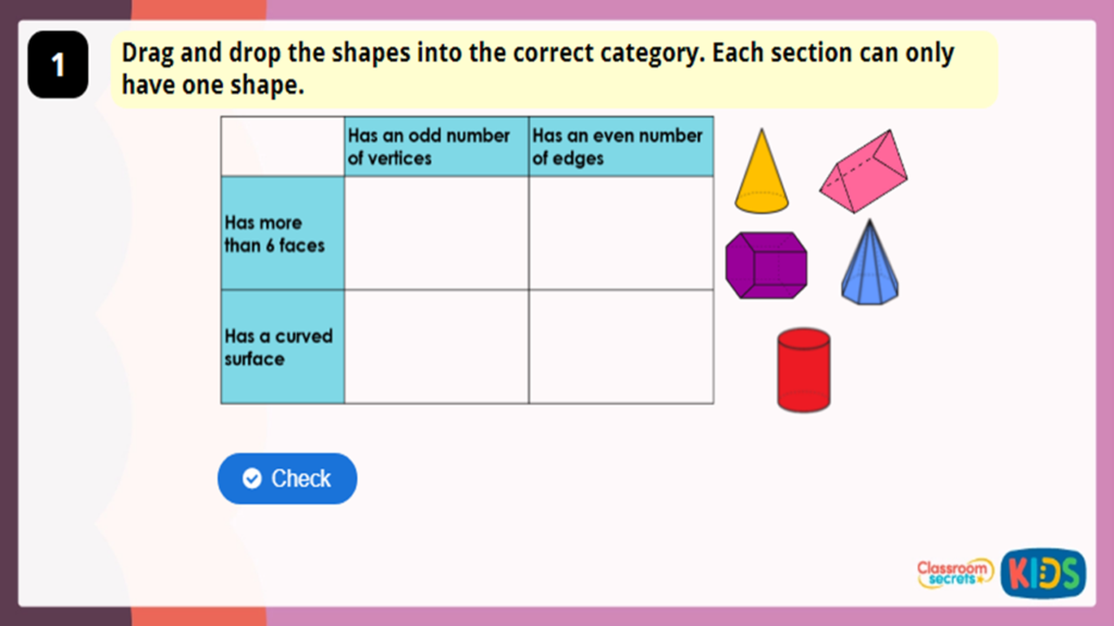 Year 3 Construct 3D Shapes Game
