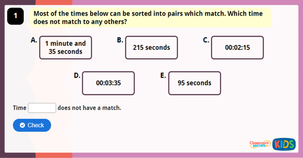 Y3 Measuring Time in Seconds Game
