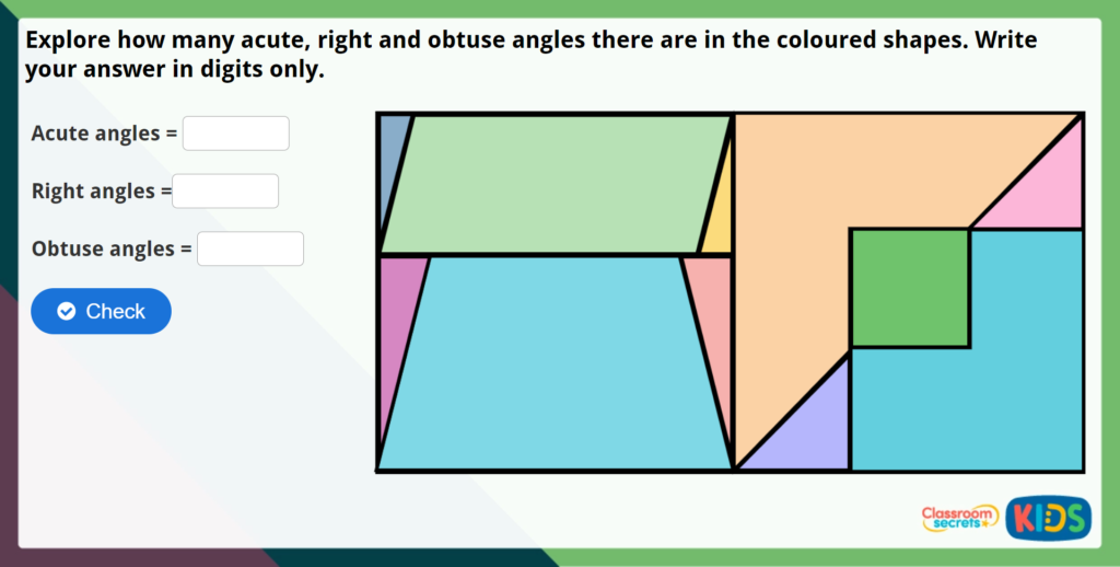 Year 4 Identify Angles Maths Challenge