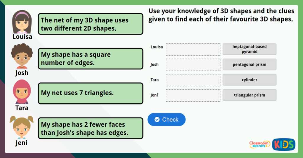 Year 5 Reasoning about 3D Shapes Challenge