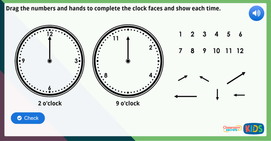 Year 1 Time to the Hour Maths Challenge
