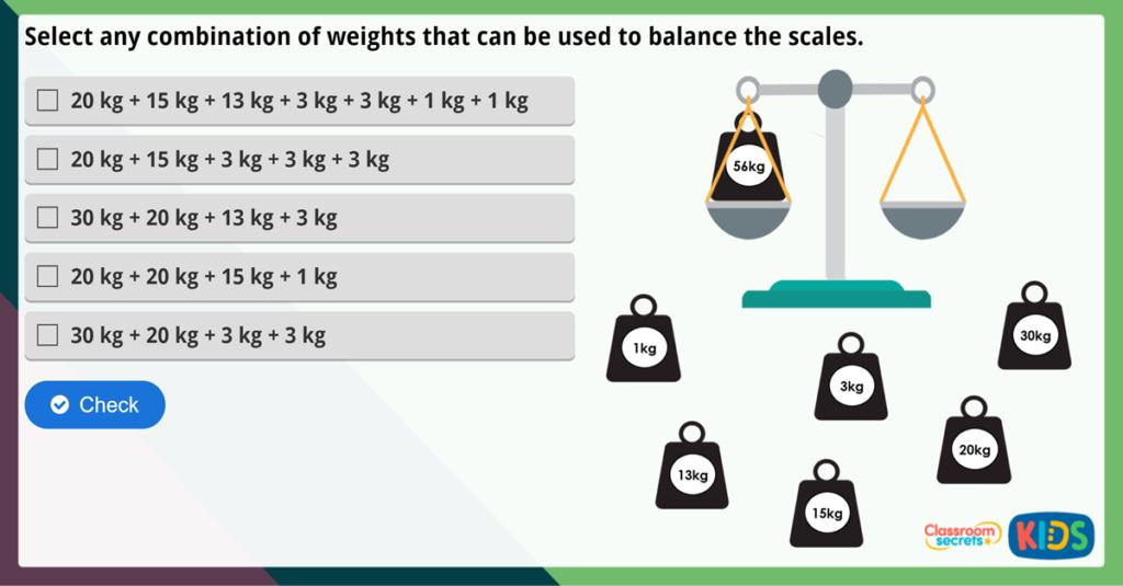 Year 2 Measure Mass (kg) Maths Challenge