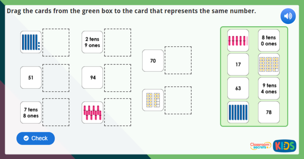 Year 1 Partitioning Numbers Maths Challenges