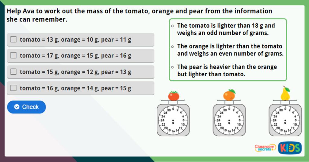 Year 2 Measure Mass in Grams