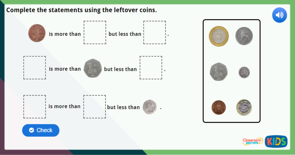 Year 1 Recognising Coins Maths Challenge
