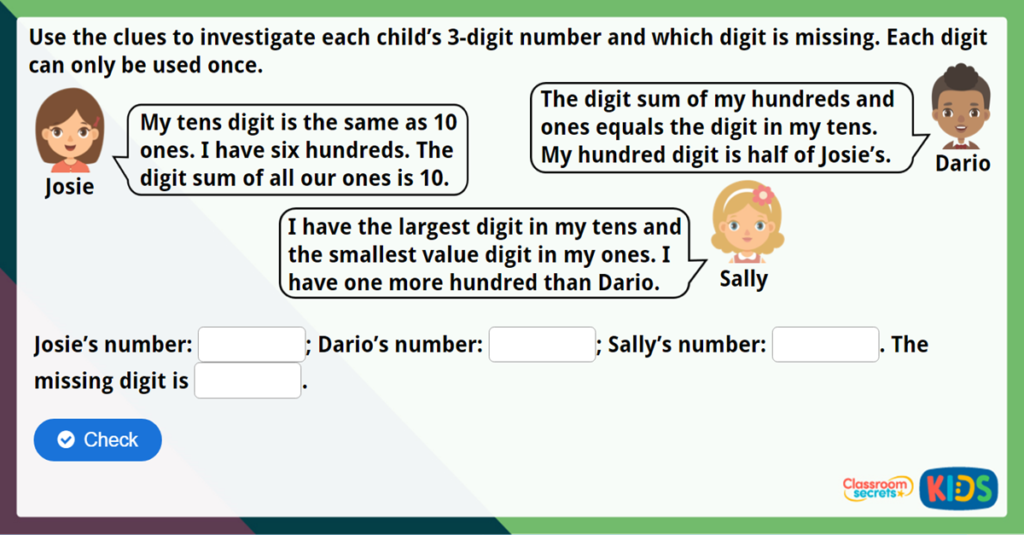 Year 3 100s 10s and 1s 1 Maths Challenge