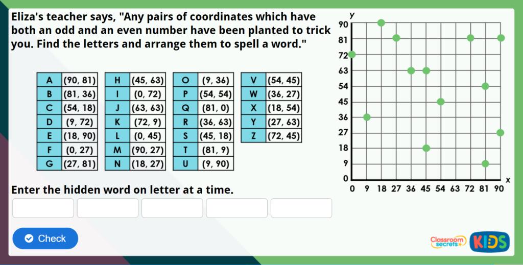 Year 4 Describe Position Maths Challenge