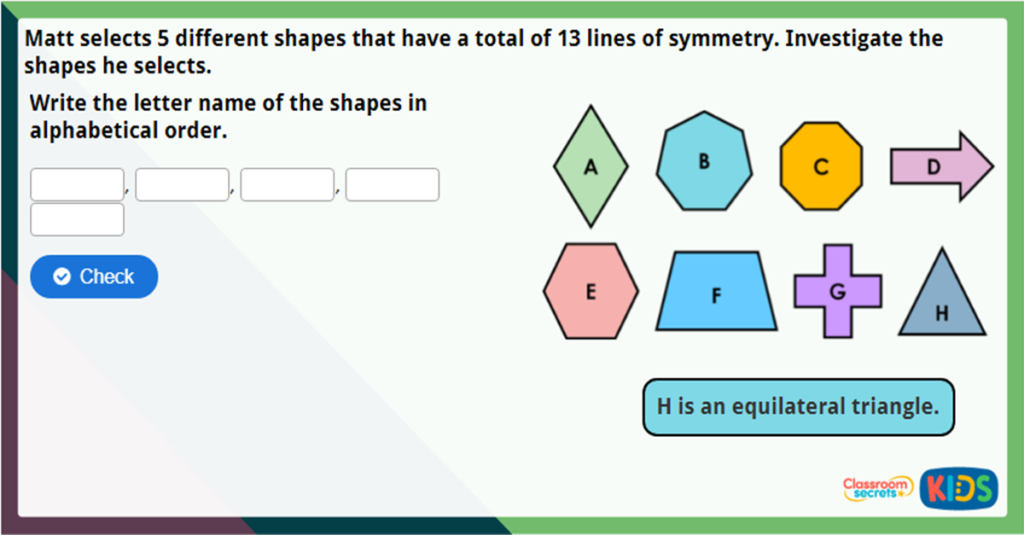 Year 4 Lines of Symmetry Challenge